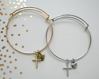 Adustable Cross Charm Bracelet Bangle Gold or Silver