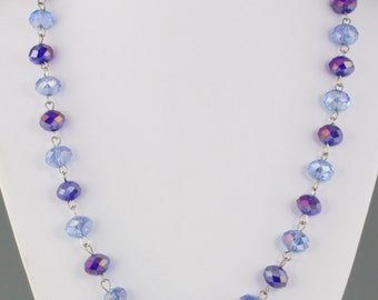 Vintage 1960's Long Blue Crystal Glass Rondelle Bead Necklace