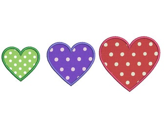 Heart Applique Machine Embroidery Design - 3 Sizes