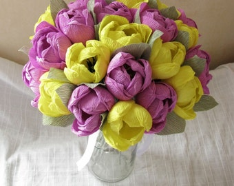 Crepe paper bouquet Yellow purple tulips Wedding bouquet Bridal bouquet Paper tulips Paper flower