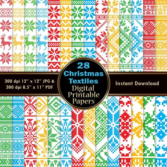 Cross Stitch Scrapbook Paper Pack