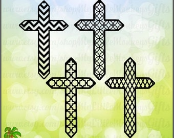 Cross SVG ~ Chevron Cross ~ Quatrefoil Cross ~ Diamond Cross ~ Patterned Cross Set ~ Commercial Use SVG ~ Cut File ~ Clipart svg-dxf-eps-png