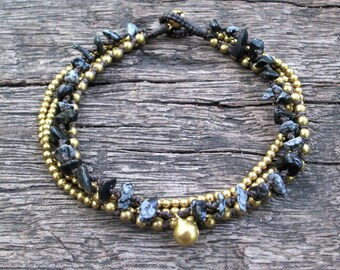Snowflake obsidian chain brass anklet