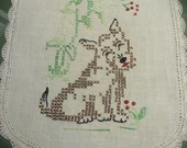Adorable vintage dog doily - hand embroidered white linen - 13 x 8-1/2 inches- HS-LI-011