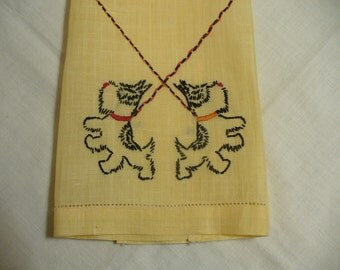 Adorable vintage black dog tea towel - hand embroidered fine yellow linen - 20 x 13 inches- HS-LI-011