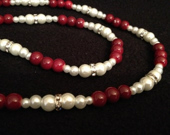 Elegant Pearl and Red beads Necklace