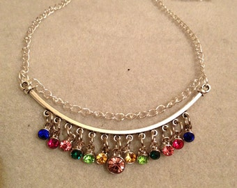 Multi Color Rhinestone Charm Necklace