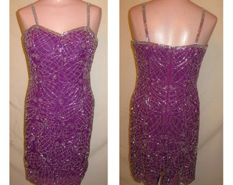 Short purple beaded dress