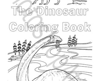 Dinosaur Coloring Book 40 Printable Pages Instant Download PDF Dino Birthday Party Favors Activity Page Color