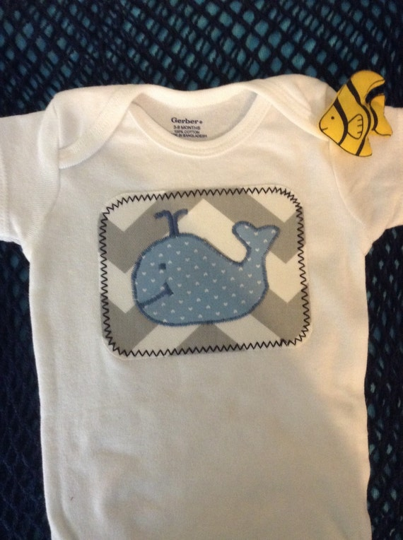 Baby boy's onesie with whale/initial appliqué