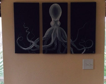 Three canvas octopus