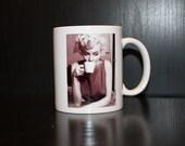 Marilyn Monroe coffee mug with a coffee quote.
