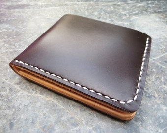 Chrome and Vegetable tanned Leather Wallet,Bi-fold Wallet,Dark brown - Natural Tan,Handmade Hand-stitched