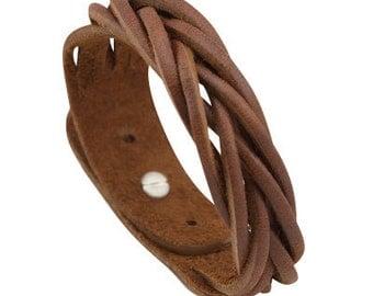 Plaited Braid leather cuff bracelet with stud closure. Adjustable size. Brown handmade leather wristband, Braided leather bracelet cuff