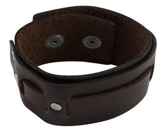 Strap Leather Bracelet with Double Snap, Men's Strip Brown Leather Cuff handmade brown leather bracelet, Leather Wristband for Men Jewelry