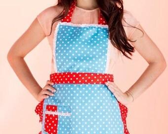 Blue polka dot apron