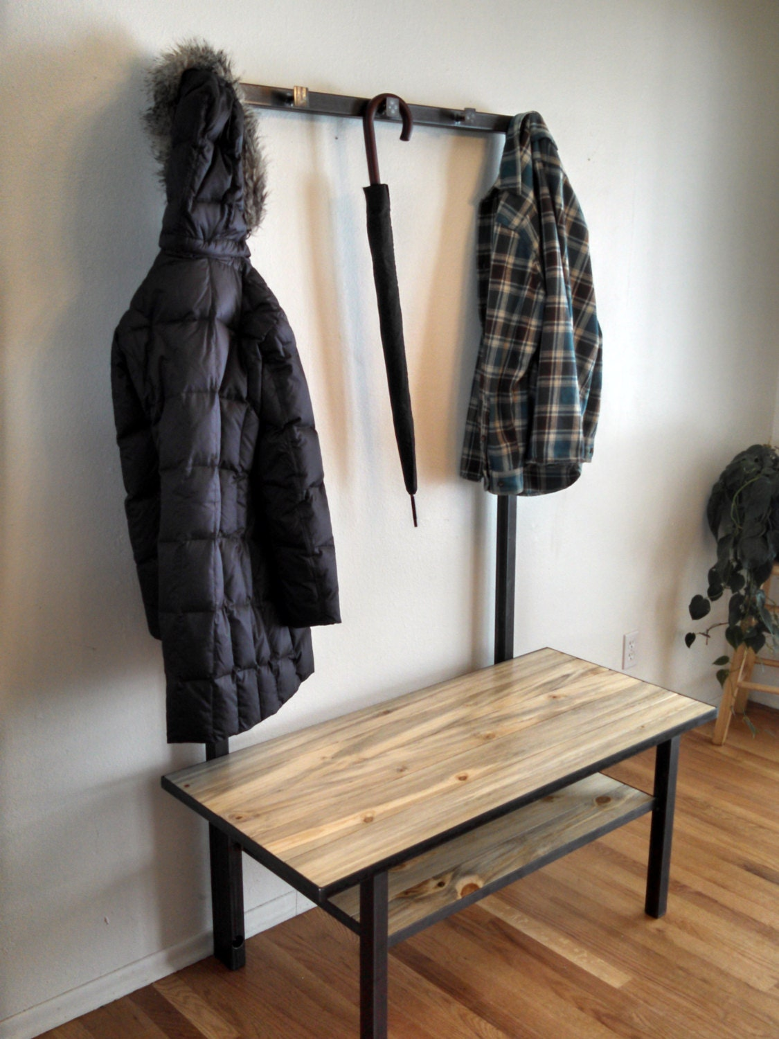 Metal framed entryway bench with coat rack and beetle kill Mudroom bench and coat rack
