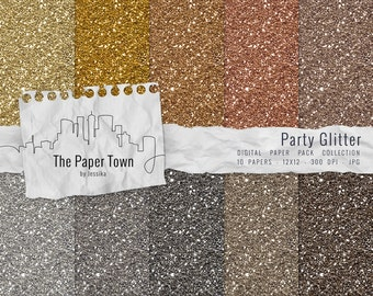 Gold and Silver Glitter Digital Paper Pack - 10 Glitter Digital Backgrounds ( 300dpi 12x12 - JPG) Party Gold Glitter Instant Download
