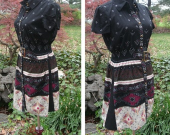 VINTAGE DRESS, AZTEC Western Print in Black Red Cream, Brass Buttons down front belted, short cotton boho hipster hippie festival dress, s/m