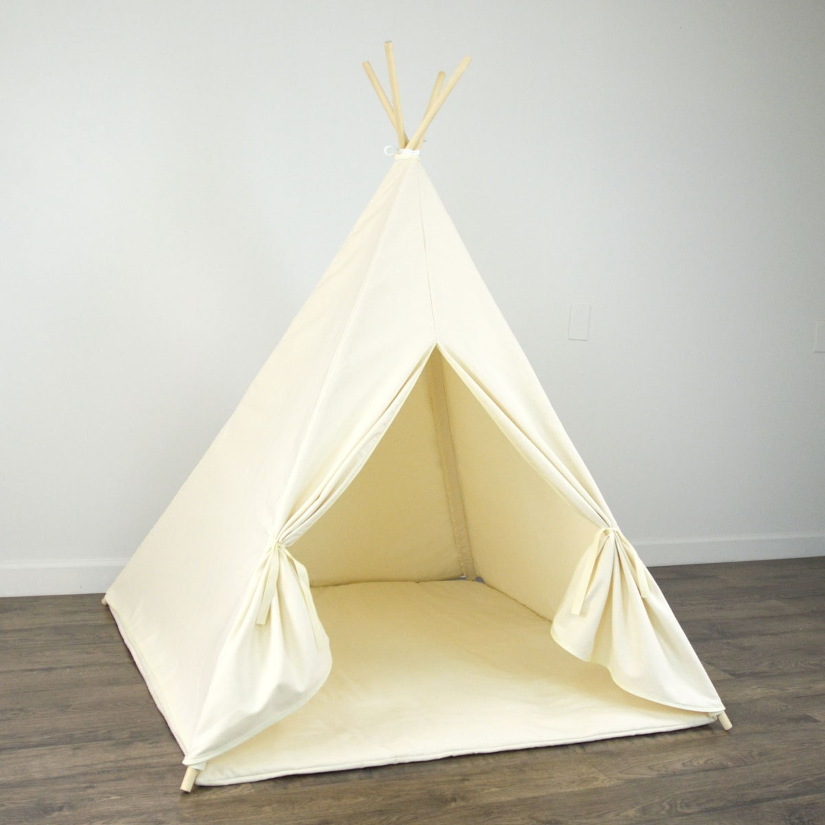 Kids Play Teepee Tent And Play Mat In Naural Khaki Tan Beige