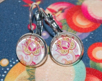 -Flower Earrings asbtraite, pink, green and yellow