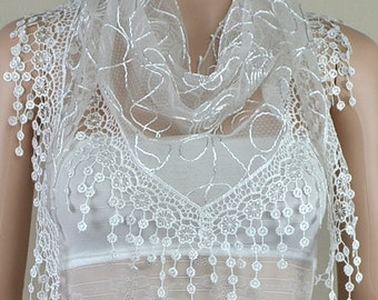 White bud silk scarf triangle, stereoscopic embroidery lace fringe scarf, shawl
