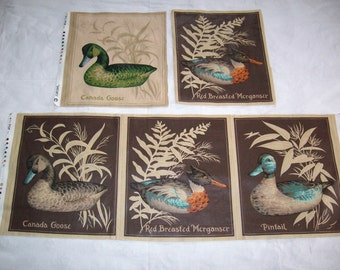 5 Decoy panels,ducks,1pintail,2 canada goose, 2 red breasted merganser, pillow,vintage fabric