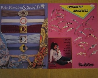 2 jewelry cross stitch pattern booklets,Belt Buckles and Scarf Pins, and Frienship Bracelets, 20 designs,by Needleform