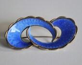 Ivar Holth Vintage Norway Modernist Sterling Silver Blue Enamel Brooche Scandinavian Jewelry