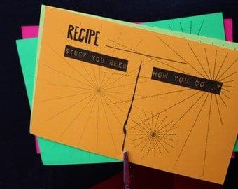 Neon Fun Recipe Cards // 20 Recipe Cards