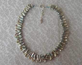 Green Biwa Pearl Necklace, Biwa Pearls, Stick Pearls, Biwa Stick Pearls Necklace, June Birthstone Necklace, Green Stick Pearls