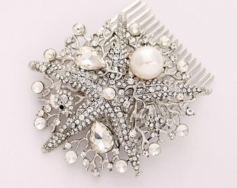 Crystal Pearl Starfish Hair Comb Beach Wedding Bridal Hairpiece Silver Rhinestone Star Fish Hair Combs Headpiece Nautical Jewelry Accessory