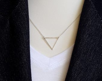 Sterling Silver Triangle Necklace TRIANGLE Necklace Silver Necklace Minimalist Necklace, Delicate Layer Necklace Dainty Necklace Layering