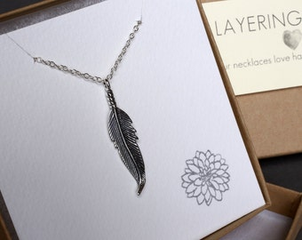 Feather necklace Silver feather necklace Long feather necklace long silver necklace layering feather pendant necklace