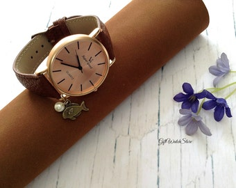 "Retro Leather Watch, Leather Wrap Watch, Leather Bracelet Watch, Brown Wrist Watch, Simple Leather Watch, Leather Watch ""fish"" charm"