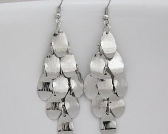 """chandelier earrings Silver tone lightweight dangly flowy dangle 3"""" long"""