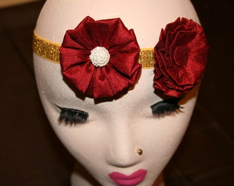 Red and Gold Flower Headband