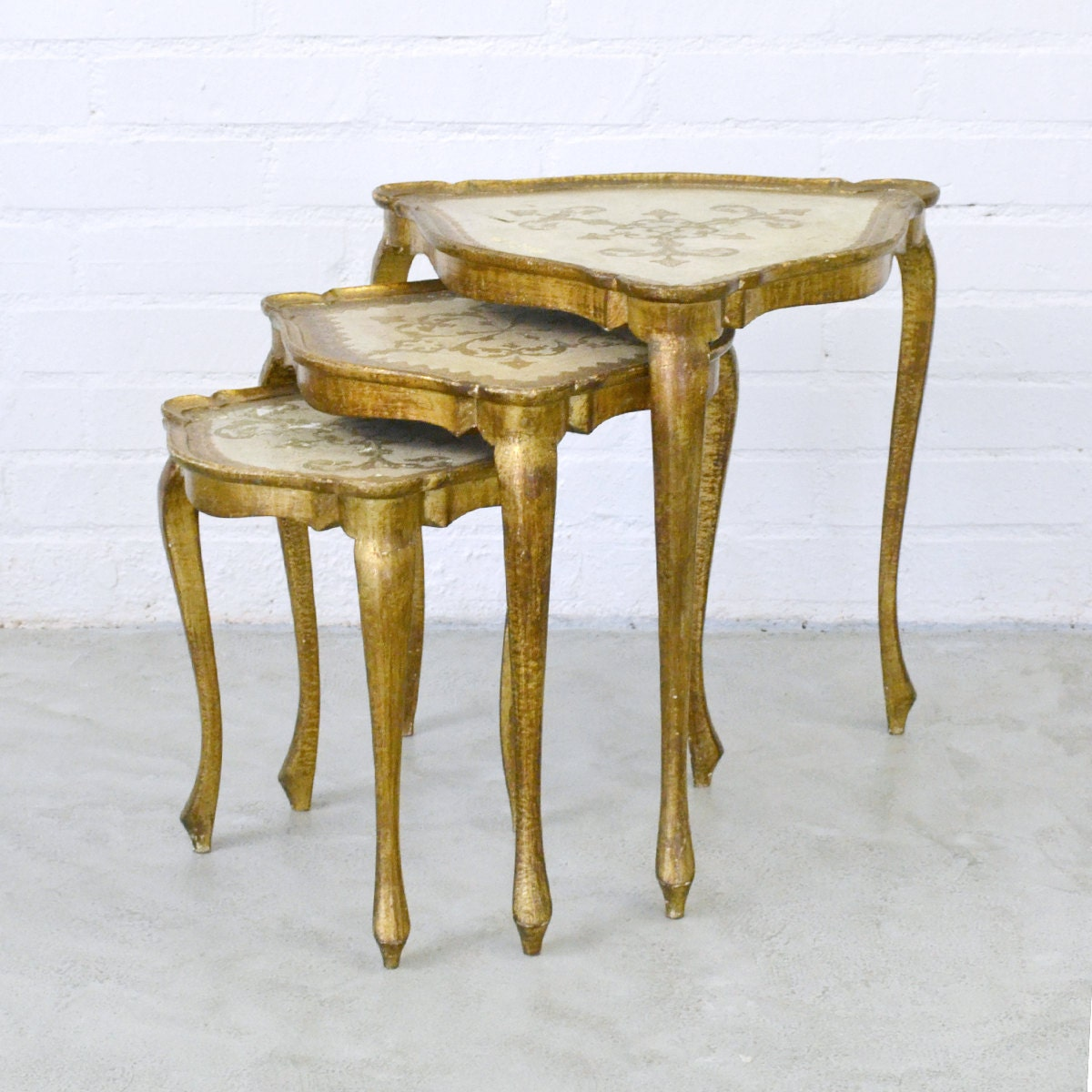 Gold Nesting Tables ~ Florentine vintage style triangle nesting tables gold