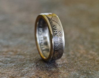 Coin Ring US Statehood Quarter - Indiana 1816, Size 6, Clad