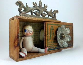 SOLD Original Art Doll with Metal Flower Box, Mixed Media 3D Assemblage with Vintage Wood box, Doll, and Vintage Found Objects
