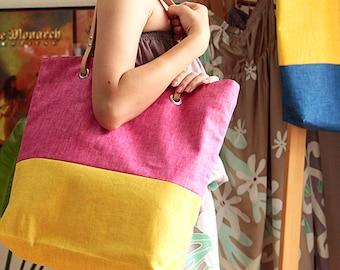 Hawaiian fabric, natural TOTE BAG HNLS02213-py