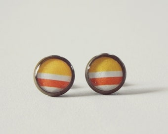 Orange & Yellow Color Block Stud Earrings