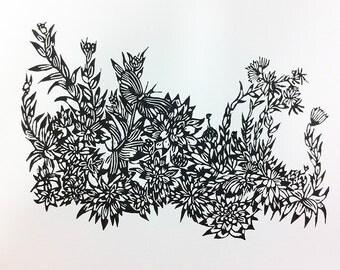 """original linocut """"Sempervivum Butterfly"""""""
