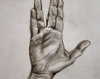 Customized pen drawing: Spok, Live Long and Prosper