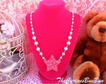Kawaii Sparkly Pink Star Shaped Necklace