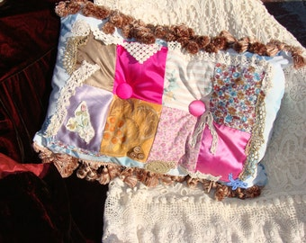 Bohemian Gypsy Chic Pillow, Handmade, Home Decor with embellishment.