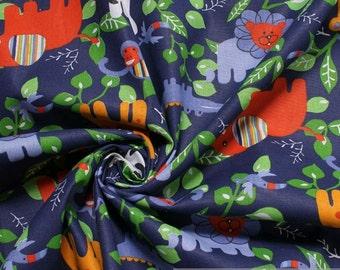Fabric for children pure cotton dark blue wild animals monkey elephant giraffe lion zebra