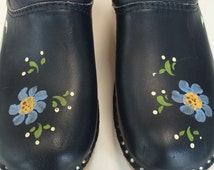 Troentorps Swedish clogs hand painted leather navy blue clogs women's European size 38 US size 7.5 Troentorps of Sweden