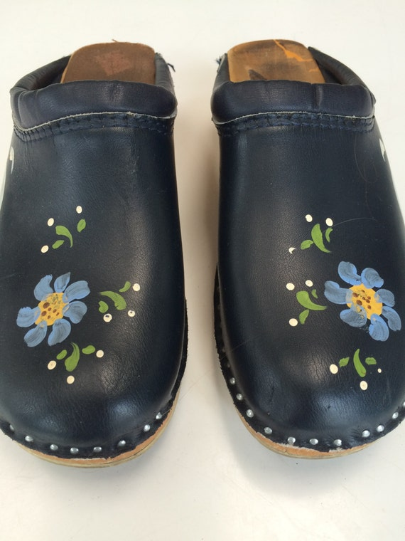 troentorps swedish clogs hand painted leather navy blue clogs
