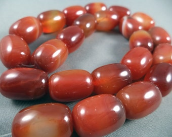 Burnt orange striped agate bead strand